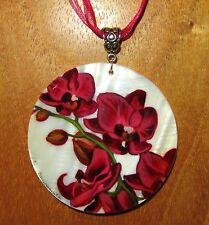 Genuine Russian Hand Painted SHELL PENDANT Dark PINK Orchid FLOWER Necklace GIFT
