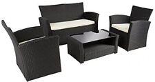 4PCS Outdoor Rattan Patio Wicker Set Garden Lawn Sofa Table Furniture Cushioned