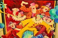 JOEL CHAMPALE Original Vintage Music Trumpet Circus Clown Carnival Oil Painting