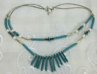 Vtg Southwest Beaded 925 Sterling Silver Turquoise Stone Necklace Double Strand
