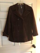 Gap Corduroy Women's Pea Coat Jacket Size Large Brown