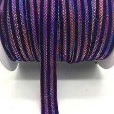 "5yds 1""(25mm)Glitter Rimmed Velvet Ribbon DIY Lace Sewing Trim Crafts Purple"