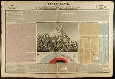 1837 - Géologie : Gravure ancienne. Volcan, Montagne, paléontologie, dinosaure