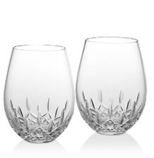 """2 WATERFORD CRYSTAL """"LISMORE"""" NOUVEAU DEEP RED WINE GLASSES New WITHOUT BOX!"""