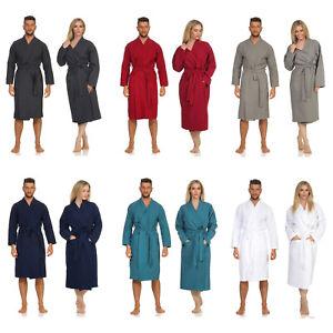 Damen Herren Kimono Baumwolle Waffel Pique Bademantel Morgenmantel Saunamantel