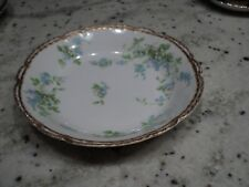 LIMOGES  M de M CHINA OLD ABBEY SOUP BOWL BLUE GREEN AND WHITE FLOWERS