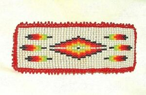 """Hand Beaded Barrette 4"""" x 1.5"""" French Clip Closure Leather Back Gray SQ02"""