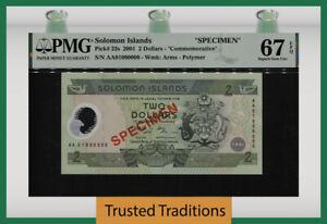 TT PK 23s 2001 SOLOMON ISLANDS 2 DOLLARS SPECIMEN PMG 67 EPQ SUPERB NONE FINER