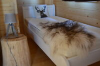 Curly Grey-White Icelandic Genuine Sheepskin Lambskin Sheep skin rug pelt