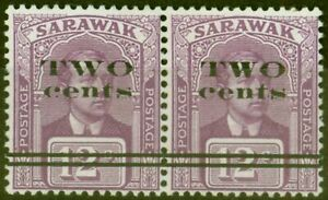 Sarawak 1923 2c on 12c Purple 2nd Printing SG75a Thick Narrow W in TWO in a V...