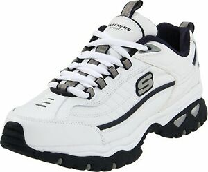 Skechers Mens Energy-After Burn Low Top Lace Up Running, White/Navy, Size 10.5 8