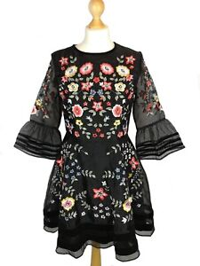 FLORAL Embroidered Style Frock & Frill LADIES Dress Size 12 VGC Women's Clothing