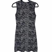 THEORY Women's Sleeveless Knit Stretch Sheath Dress Black White Size Petite