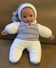 """Gotz Baby Cuddly Baby Doll Stocking Cap Hat Plush 12"""" Blue Eyes"""