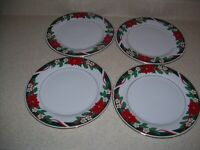 "Set of 4 Tienshan Fine China 10 5/8""  Deck The Halls  Poinsettia Dinner  1686"