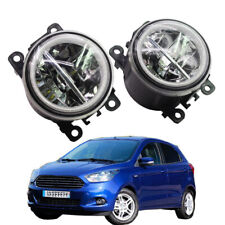 LED Fog Light + Angel Eye Rings Daytime Running Lights DRL Fit For Ford Figo