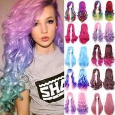 Rainbow Color Cosplay Wig Real Vogue Women Girls Curly Straight Wavy Full Wigs a