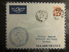 1939 Hanoi Laos Saigon Vietnam First Flight Cover 150 Flown via Air France FFC