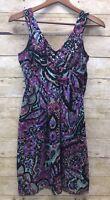 Tibi New York Size 2 Womens Empire Waist Dress Sleeveless Multi-Color Silk Blend
