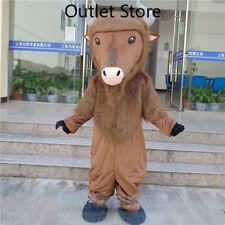 Long Fur Cattle Mascot Costume Suits Halloween Cartoon Dress Xmas Cosplay Xmas