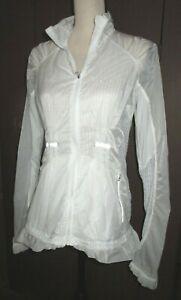 LULULEMON sz 8 Run Wild white transparent full zip windbreaker jacket mesh back