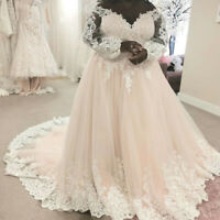 Blush Pink Vintage Plus Size Wedding Dresses V-neck Long Sleeves A Line Gown