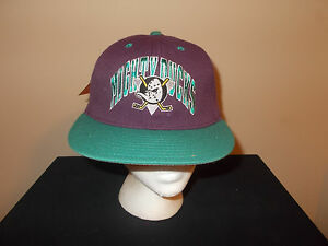 VTG-RARE 1990s Anaheim Mighty Ducks Annco BIG Double Logo wool fitted hat sku10