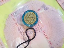 Orgone Blue Crystal  Flower Of Life Infinity Metal Orgone Pendant With Cord