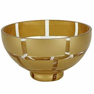 Crystal Glass Bowl with Genuine Antique Gold Leaf Pattern
