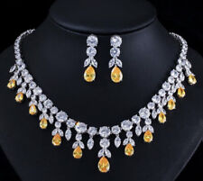 18k White Gold Necklace Earrings Set w Created Diamond & Yellow Citrine Gemstone