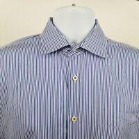 Peter Millar Mens Purple Blue Striped L/S Dress Button Shirt Sz Large L