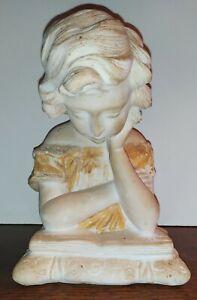 "Statuette Buste ""La Liseuse"" en pierre signée Scarselli"