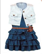 3pcs Toddler Infant Girls Outfits Denim dress+ Vest + belt Kids Clothes Set