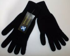 Scottish 100% 4 ply cashmere knitted warm soft finger gloves Mens Black one size