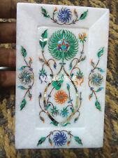 "7""x5"" White Marble Serving Dish Plate Malachite Gems Inlay Home Table Decor Gift"