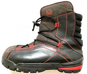 """SOREL SNEAKY PETE BIG KID'S BLACK RED LEATHER 6""""  WARM WINTER ANKLE BOOTS SIZE 6"""