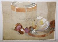 "14"" Vintage Watercolor Abstract Shaner Art Portnum Mason Still Life Onion"