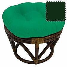 International Caravan Bali Rattan Papasan Footstool Ottoman-forest Green