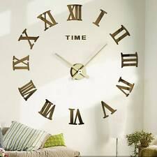 Wanduhr Deko Spiegel Wandtattoo 3D DIY Design Große Wand Uhr Wohnzimmer Büro