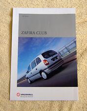 Vauxhall Zafira A Club brochure 2000 Models