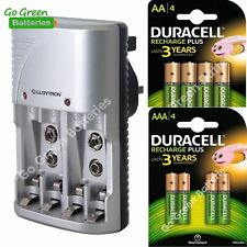 Lloytron Charger + 4x Duracell AA 1300mAh + 4x AAA 750mAh Rechargeable Batteries