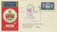 2469 1953 QEII 1 Sh 6 D Special Coronation Flight PORT MORESBY, Papua New Guinea