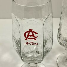 """4 Signed Adolph C COORS Red Logo 12 oz. 7"""" Textured 6-Panel Stemmed Beer Glasses"""