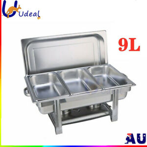 Food Warmer 3x3L Trays Stainless Steel Bento Buffet Commercial Kitchen Equipment