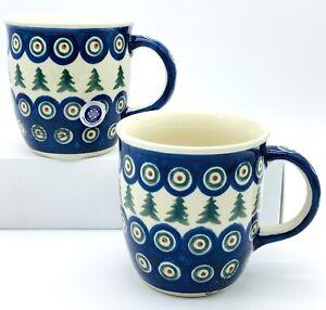 Bolesławiec Pottery Mugs, Set of 2, Christmas Peacock Pine Tree, 12 Ounces