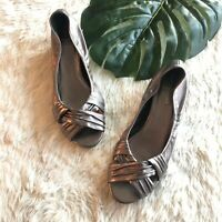 Cole Haan Womens Silver/ Metallic Leather Open Toe Wedge Sandals 9.5 B