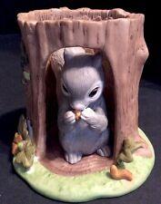 Franklin Mint Woodland Surprises Squirrel In A Log 2 Pc Porcelain Set Figure