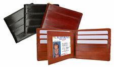 Eel Skin Leather Men's Bifold Wallet Center Flap Card Holder ID Front Pocket