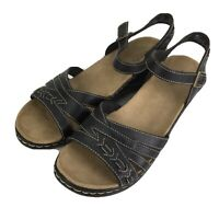 Clarks Bendables Lexi Norwich Ankle Strap Sandals Black Leather 65127 Sz 10W