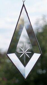 Bleiverglasung Fensterbild Suncatcher Facetten- Tropfen mit Gravur in Tiffany